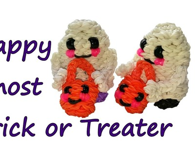 Happy Ghost Trick or Treater Tutorial by feelinspiffy (Rainbow Loom)