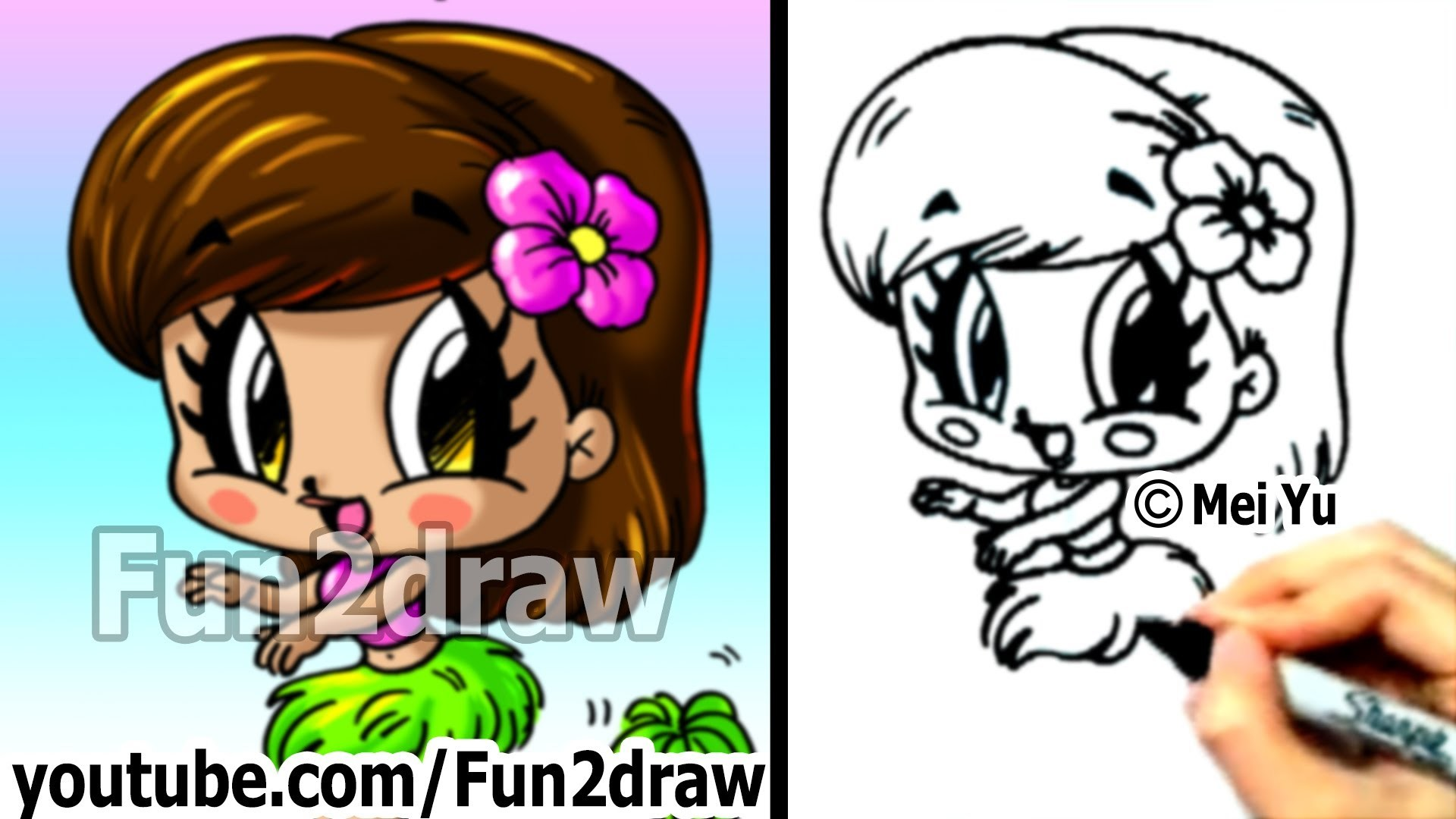 How to Draw Cartoon People - Chibi Hula Girl - Cute Art - Fun2draw