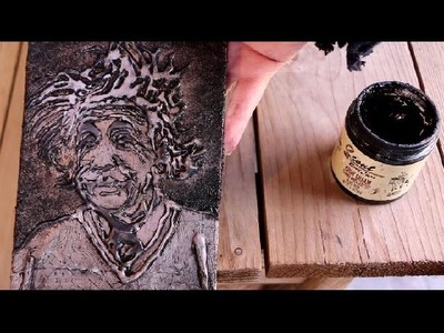 How to Paint a PORTRAIT with HOT GLUE TEXTURE