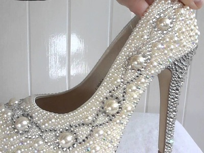 Ivory Pearl And Glass Crystal Heels