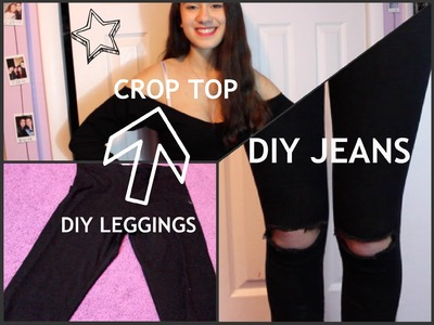 LEGGINGS TO CROP TOP + DIY Distressed Jeans!