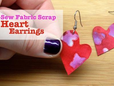No-Sew Fabric Scrap Heart Earrings