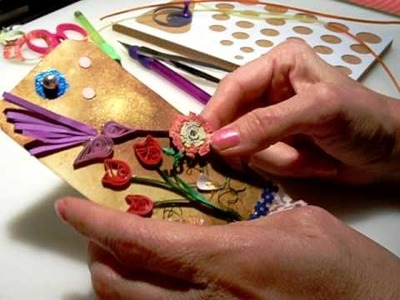 Quilled Hummingbird and Mum tag