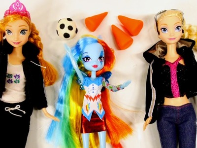 Rainbow Dash Vs Elsa and Anna Disney Frozen Play Doh Soccer Match Equestria Barbie Dolls