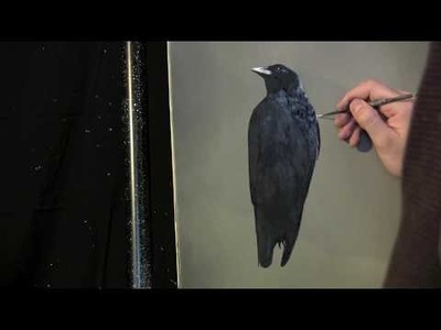 Simple Crow painting lesson preview.  Full lesson available at http:.www.timgagnon.com
