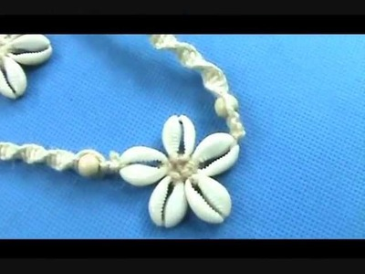 Wholesale seashell flower macrame hemp bracelet and necklace set wholesalesarong.com