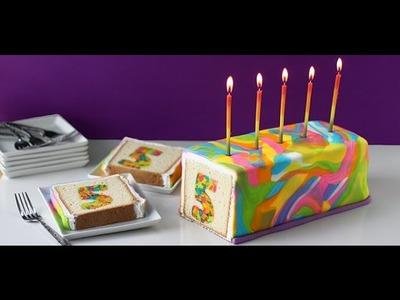 Amazing Rainbow Tie Dye Number Surprise Cake
