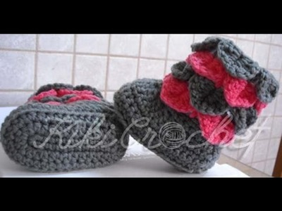 Crochet Crocodile Stitch Booties (English Tutorial)
