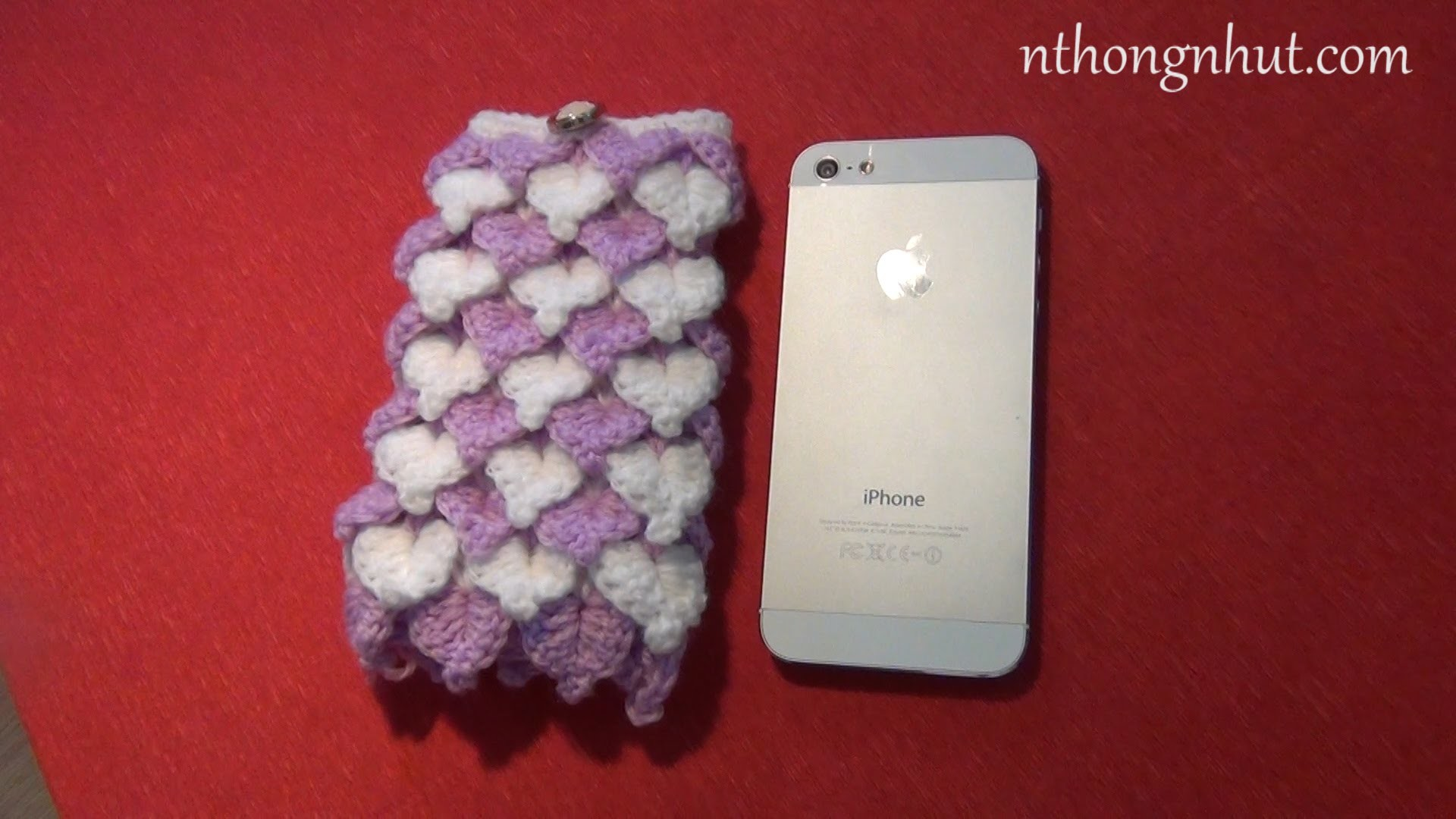 Crochet Phone Case Tutorial - Pattern 4 (engsub)