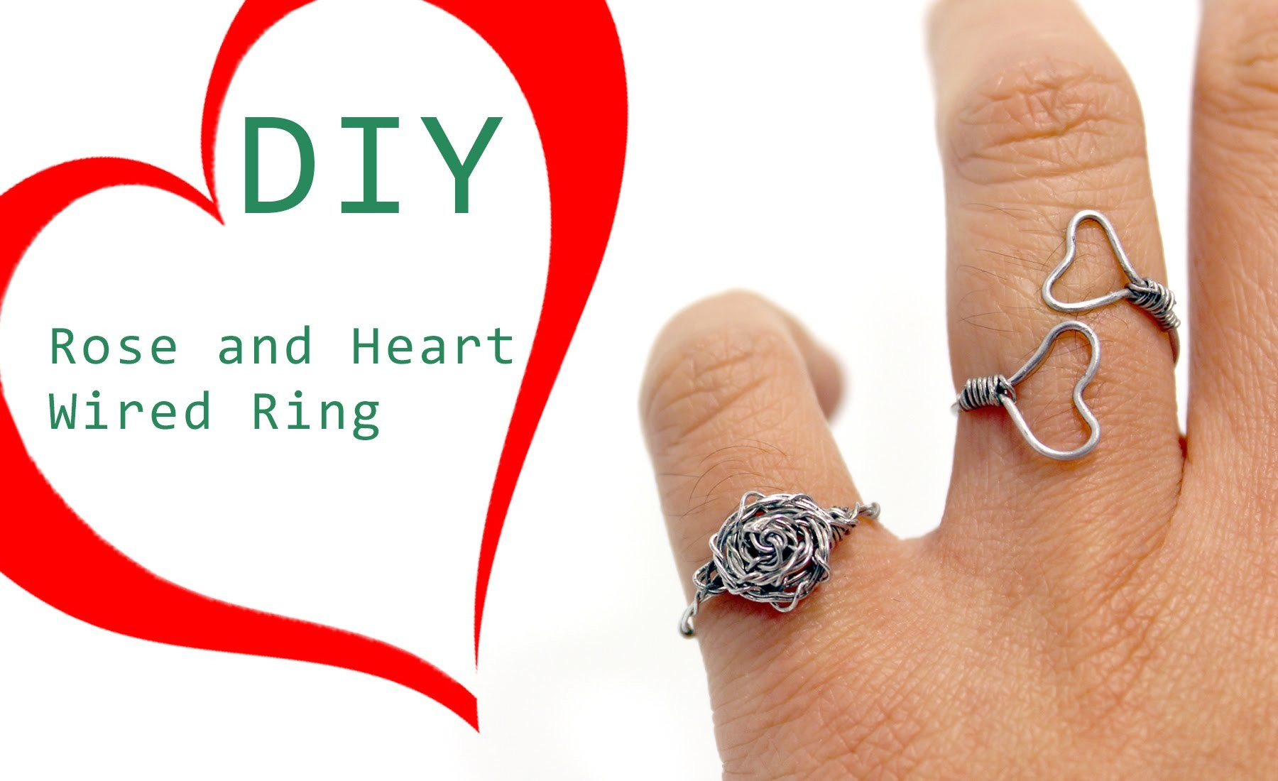 DIY Rose and Heart Wired Ring