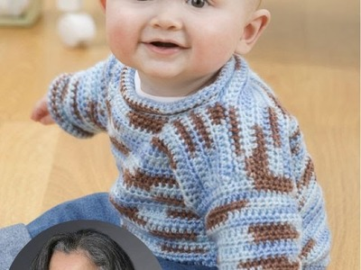 How to crochet a baby pullover sweater Video 4