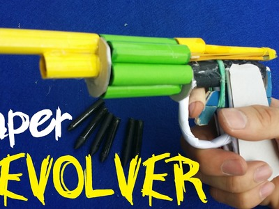 How to make a Paper Revolver Gun that shoots with 6 Paper Bullets | Creative Stuffs