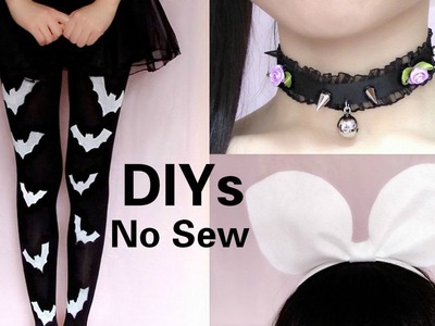3 Last Minute Halloween DIYs ( No Sew): DIY Bat Tights +  Pastel Gothic Choker + Rin Headband