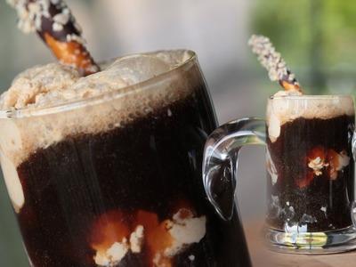Chocolate Stout Ice Cream Float w. Peanut Butter Ice Cream || KIN EATS
