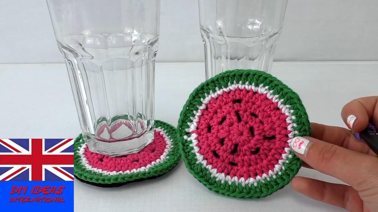 Crochet coaster for beginners - how to crochet a Watermelon coaster - crochet tutorial, My Crafts