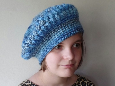 #Crochet Puff Stitch Womens Beret Hat #TUTORIAL