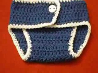DIY Crochet Baby Newborn Diaper Cover.Nappies Blue &White Trim