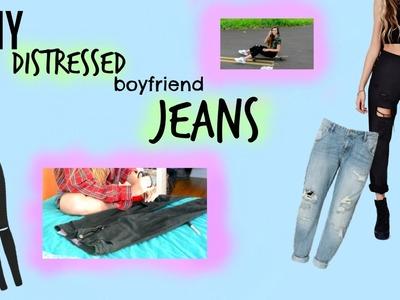 DIY: Distressed Boyfriend Jeans | Tatiana Ringsby