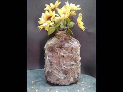 DIY Jarrón imitación cuero viejo . Faux leather vase