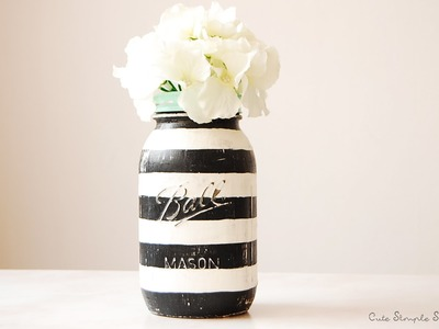 DIY Striped-Vintage Inspired Mason Jar Home Decor