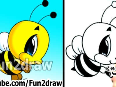 How to Draw Cartoon Characters - Bumble Bee in 2 min - Easy Things to Draw - Fun2draw