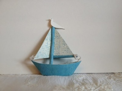 How to make a Tiny Paper Sail boat for scrapbook decor