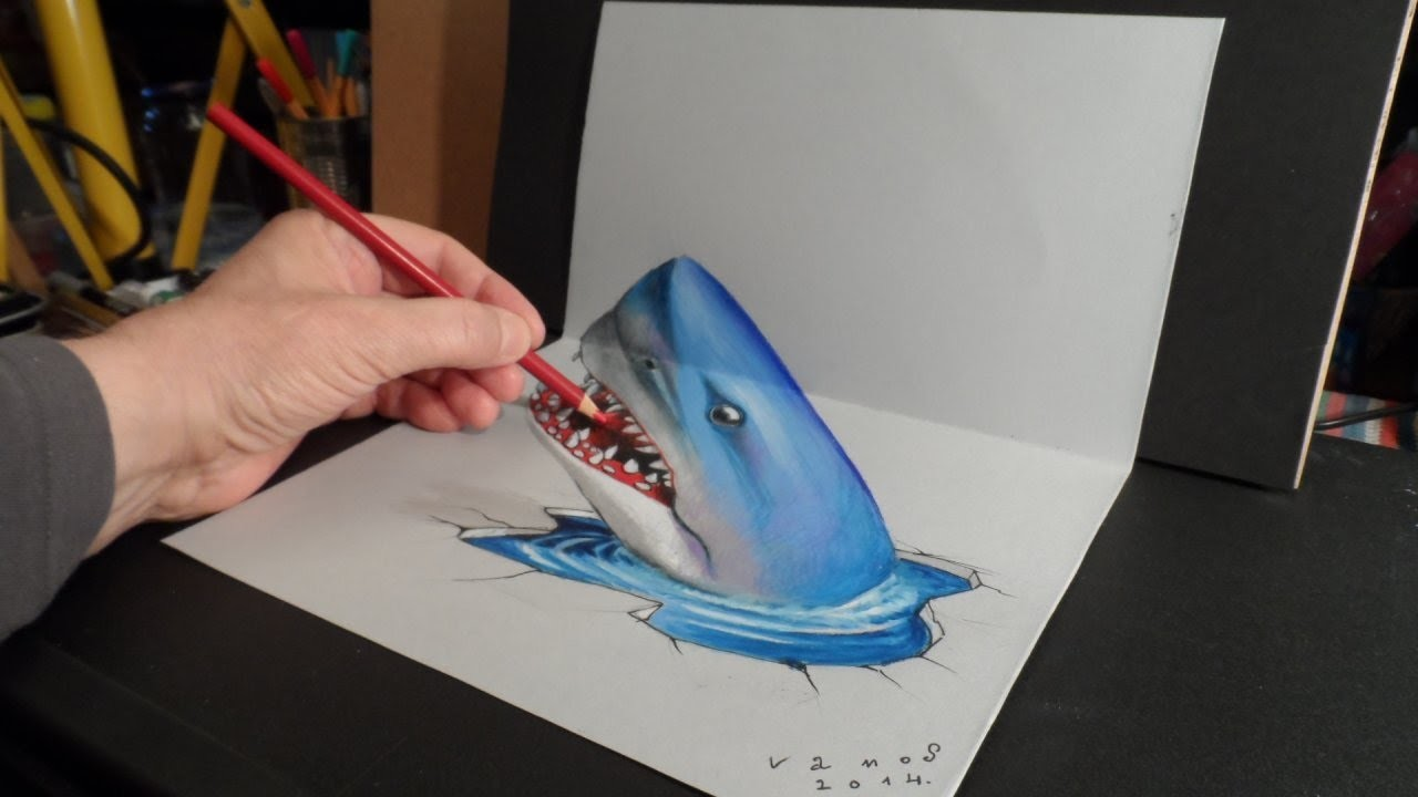 3D Trick Art, Drawing a Shark, Time Lapse