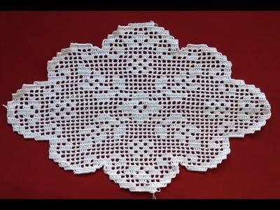 Crochet Oval Flower Filet Part 3