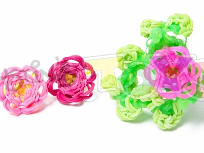 How to Make a Rainbow Loom 3D Flower Bracelet - Part 1 - 3D Flower Charm