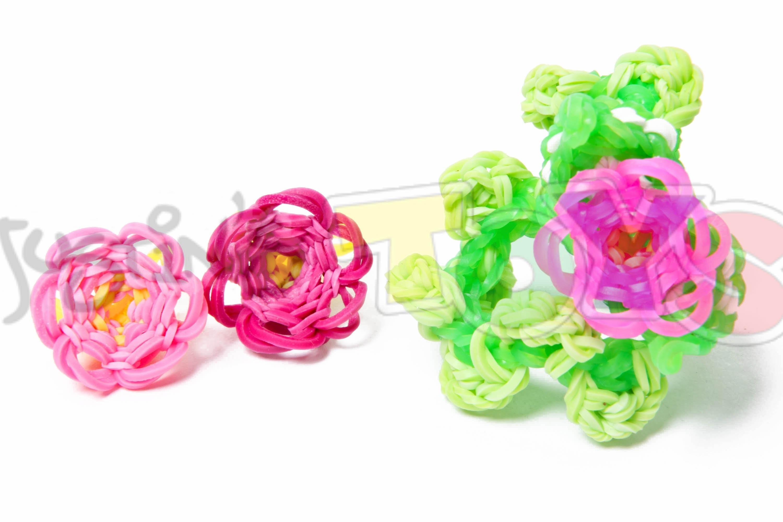 How to Make a Rainbow Loom 3D Flower Bracelet - Part 1 - 3D Flower Charm