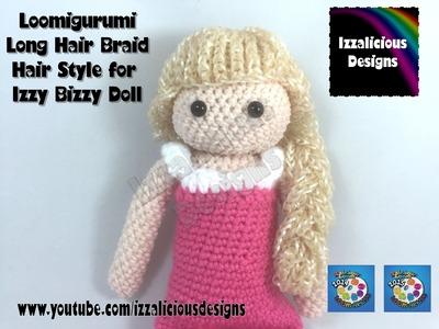 Loomigurumi Izzy Bizzy Doll - Long hair with braid - hook only - amigurumi with Rainbow Loom Bands