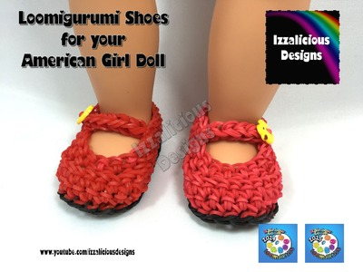 Loomigurumi MaryJane Shoes for American Girl Doll - Amigurumi crochet with Rainbow Loom Bands