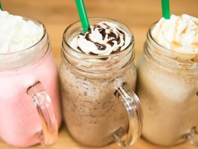 Make a Starbucks Frappuccino. Cotton Candy Frappuccino, Java Chip Frappuccino & Caramel Frappuccino