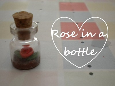 Miniature Rose in a bottle charm (miniture)