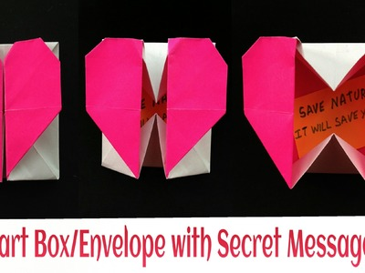 "Origami Paper ""Heart Gift Box. Envelope with Secret Message"" - Valentine special."