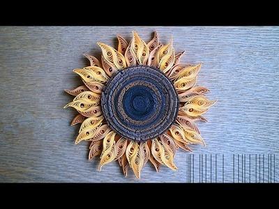 Quilled sunflower - Tournesol en papier - Papel de girasol