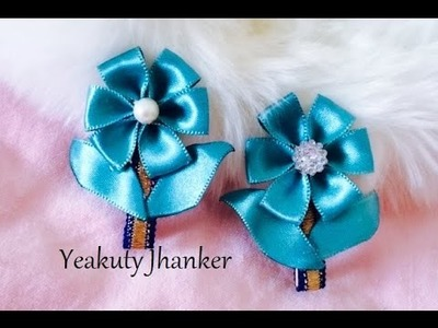 Satin ribbon flower hair clip