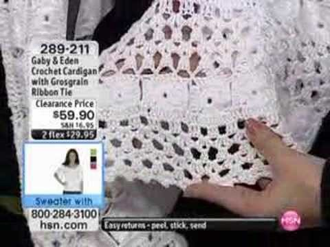 Crochet Cardigan with Grosgrain Ribbon Tie by Gaby & Eden