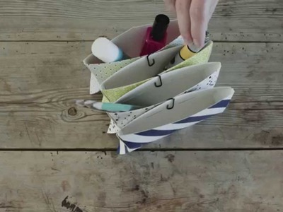 DIY: Pencil holder made of folding cartons by Søstrene Grene