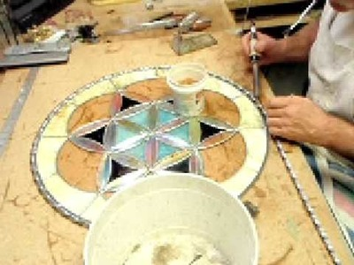 How to attach lead to stained glass - 2f Dichroic Glass Man