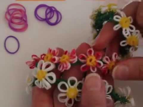 Rainbow Loom™  MonsterTail™  Daisy Flower Charm Bracelet Turorial