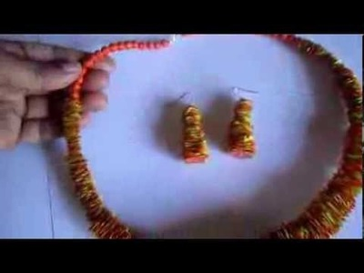 Handmade Jewelry -Scrape Paper Necklace and Earrings (Not Tutorial)
