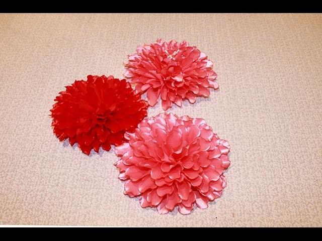 Kanzashi Flower Tutorial Dahlia Flower. Kanzashi Tutorial. Kanzashi Flores de cinta