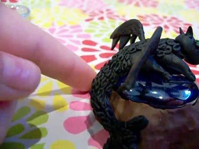 Polymer clay dragon, pen & decoden