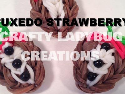 Rainbow Loom Bands TUXEDO CHOCOLATE STRAWBERRY CHARM How to Make Crafty Ladybug