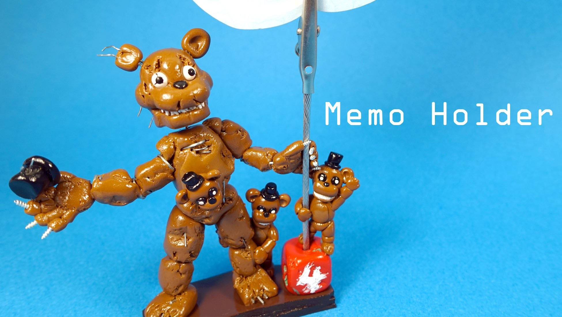 Five Nights at Freddy's 4 Nightmare Freddy Memo Holder Polymer Clay Tutorial