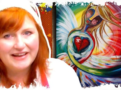 How to paint Angel Heart online home painting party abstract rainbow art lesson full tutorial