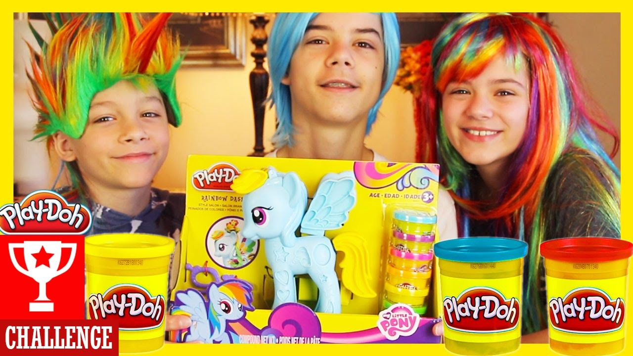 PLAY DOH CHALLENGE!  MY LITTLE PONY RAINBOW DASH STYLE SALON | Play-Doh Kit Set |  KITTIESMAMA