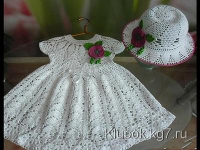 Crochet dress| How to crochet an easy shell stitch baby. girl's dress for beginners 24