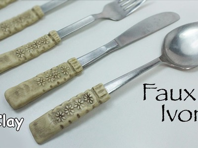 Faux Ivory - How to renew cutlery - Polymer clay tutorial-